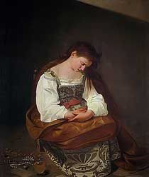 Penitent Magdalene by Caravaggio, high resolution image