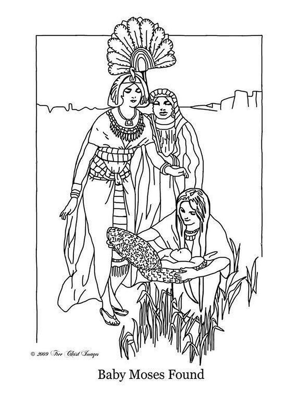 The Finding Of Baby Moses Coloring Page Free Printable Free Photos