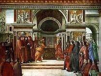 The Annunciation to Zechariah, Domenico Ghirlandaio