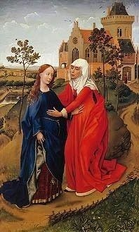 Rogier van der Weyden painting of the Visitation of Mary and Elizabeth