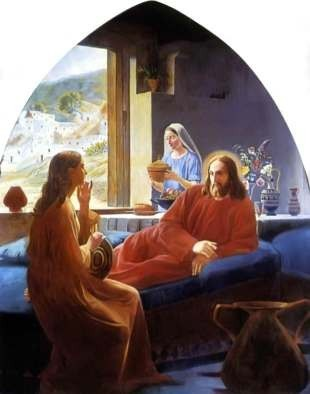 Jesus in the Home of Mary and Martha, free christian art
