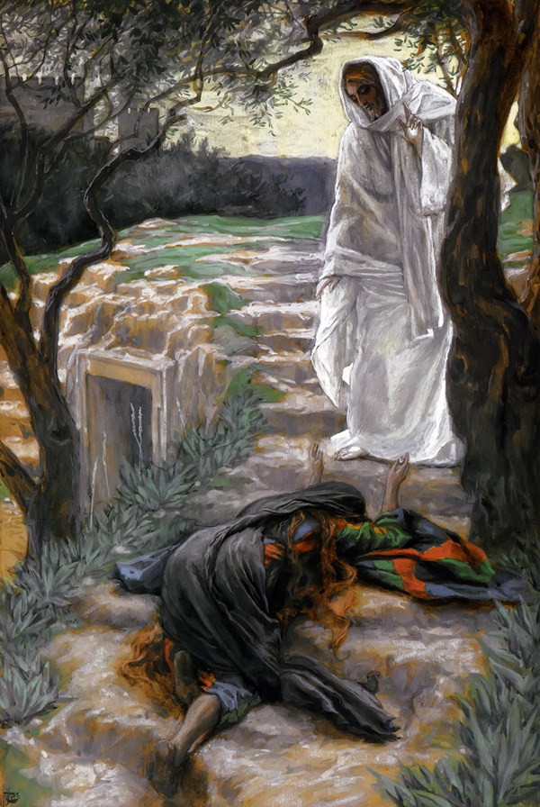 Noli Me Tangere, Touch Me Not painting by James Tissot depicting the resurrected Christ and Mary Magdalene, high resolution