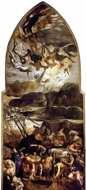 Moses Receiving the Tables of Law by Tintoretto, high resolution