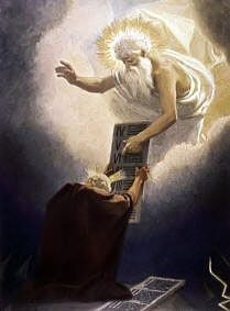 Moses Given the Tablets painting by Gebhard Fugel, high resolution image
