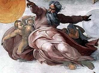 Creation of the Sun and Moon by Michelangelo, high resolution