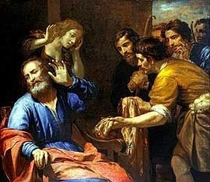 Painting of Josephs coat brought to Jacob by Giovanni Andrea Ferrari