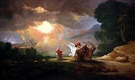 Lot Fleeing Sodom painting by Benjamin West