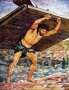 Samson Carries the Gates of Gaza by Arthur Dixon