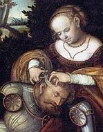 Samson and Delilah by Lucas Cranach, royalty free images