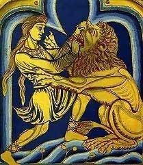 Samson and the Lion by Nicholas of Verdun, free old testament art